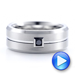 Men's White Tungsten Brushed Finish Band - Interactive Video - 101187 - Thumbnail