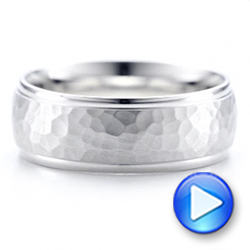 Men's Hammered Finish White Gold Band - Interactive Video - 101190 - Thumbnail