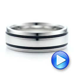 Men's White Tungsten With Black Antique Band - Video -  101200 - Thumbnail