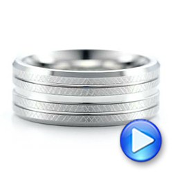 Men's Florentine Finish White Tungsten Band - Interactive Video - 101204 - Thumbnail