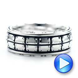 Men's Sterling Silver Brick Band - Video -  101208 - Thumbnail