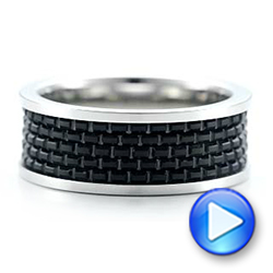 Men's Black And White Tungsten Band - Video -  101209 - Thumbnail