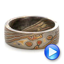 Custom Men's Mokume Wedding Band - Interactive Video - 101215 - Thumbnail