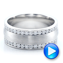 Custom Men's Channel Set Diamond Wedding Band - Interactive Video - 101216 - Thumbnail