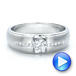 Custom Men's Tension Set Diamond Wedding Band - Interactive Video - 101220 - Thumbnail