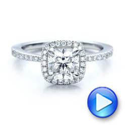 Platinum Custom Diamond Halo Engagement Ring - Video -  101224 - Thumbnail