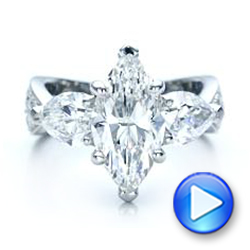 Platinum Custom Marquise Diamond Engagement Ring - Video -  101227 - Thumbnail