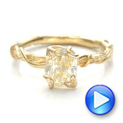 18k Yellow Gold Custom Yellow Diamond And Organic Vine Engagement Ring - Video -  101228 - Thumbnail