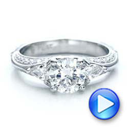 Platinum Custom Diamond Engagement Ring - Video -  101229 - Thumbnail