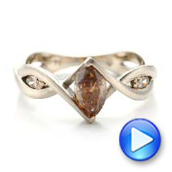 14k White Gold Custom Marquise Cognac Brown Diamond Engagement Ring - Video -  101231 - Thumbnail
