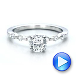 Custom Diamond and Peridot Engagement Ring - Interactive Video - 101237 - Thumbnail