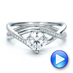 Platinum Custom Split Shank Diamond Engagement Ring - Video -  101239 - Thumbnail