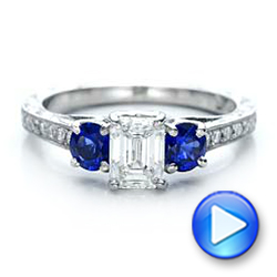 Custom Emerald Cut Diamond and Blue Sapphire Engagement Ring - Interactive Video - 101242 - Thumbnail