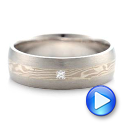 Platinum And 14K Gold Platinum And 14K Gold Custom Men's Mokume Wedding Band - Video -  101259 - Thumbnail