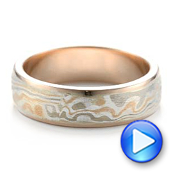 14k Rose Gold And 14K Gold Custom Men's Mokume Wedding Band - Video -  101261 - Thumbnail