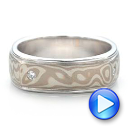 Custom Men's White Gold and Mokume Wedding Band - Interactive Video - 101265 - Thumbnail
