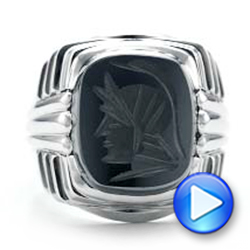 Custom Men's Signet Ring - Interactive Video - 101267 - Thumbnail