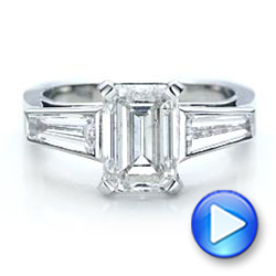 14k White Gold Custom Emerald Cut And Baguette Diamond Engagement Ring - Video -  101284 - Thumbnail