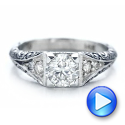 Custom Antiqued and Hand Engraved Diamond Engagement Ring - Interactive Video - 101290 - Thumbnail