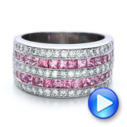 18k White Gold Pink Sapphire And Diamond Anniversary Band - Video -  101331 - Thumbnail