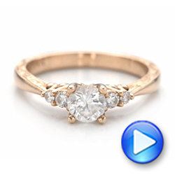 Hand Engraved Rose Gold and Diamond Engagement Ring - Interactive Video - 101401 - Thumbnail