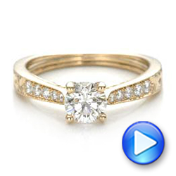 14k Yellow Gold And 14K Gold Custom Hand Engraved Diamond Engagement Ring - Video -  101422 - Thumbnail