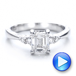 14k White Gold Custom Diamond And Emerald Engagement Ring - Video -  101438 - Thumbnail