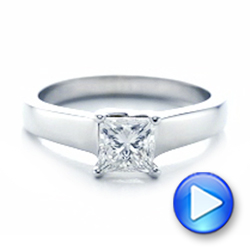 Custom Princess Cut Solitaire Engagement Ring - Interactive Video - 101450 - Thumbnail