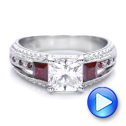 Custom Ruby and Diamond Engagement Ring - Interactive Video - 101458 - Thumbnail