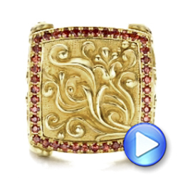 18k Yellow Gold Cross And Crown Hand Carved Men's Ring - Video -  101510 - Thumbnail