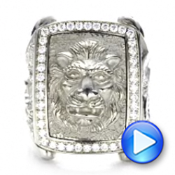 14k White Gold Lion's Head Hand Carved Ring - Video -  101511 - Thumbnail