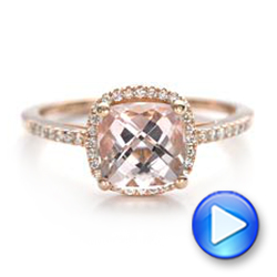 14k Rose Gold Custom Morganite And Diamond Halo Engagement Ring - Video -  101522 - Thumbnail