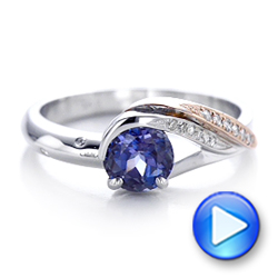 14k White Gold And 14K Gold Custom Two-tone Alexandrite And Diamond Engagement Ring - Video -  101566 - Thumbnail