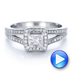 18k White Gold 18k White Gold Custom Engraved Princess Cut And Halo Diamond Engagement Ring - Video -  101592 - Thumbnail