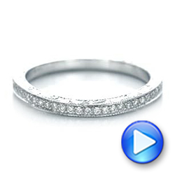 Custom Diamond and Hand Engraved Wedding Band - Interactive Video - 101617 - Thumbnail