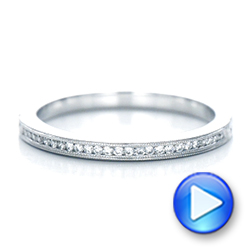 Custom Channel Set Diamond and Hand Engraved Wedding Band - Interactive Video - 101643 - Thumbnail