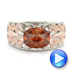 14k White Gold And 14K Gold Custom Zircon And Diamond Two-tone Wedding Ring - Video -  101746 - Thumbnail