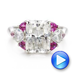 14k White Gold Custom Diamond And Pink Sapphire Engagement Ring - Video -  101748 - Thumbnail