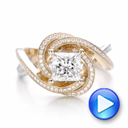 Custom Rose Gold and Platinum Diamond Engagement Ring - Interactive Video - 101749 - Thumbnail
