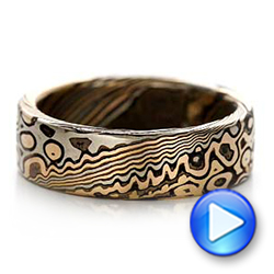 Custom Men's Mokume Wedding Band - Video -  101776 - Thumbnail