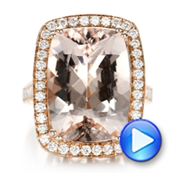 Cushion Morganite And Diamond Halo Fashion Ring - Video -  101777 - Thumbnail