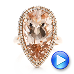 Morganite And Double Diamond Halo Fashion Ring - Video -  101780 - Thumbnail