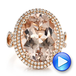 Morganite And Double Diamond Halo Fashion Ring - Video -  101781 - Thumbnail