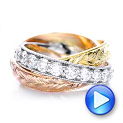 Three-Tone Hand Engraved Anniversary Band - Interactive Video - 101834 - Thumbnail