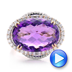 Two-Tone Amethyst and Diamond Halo Fashion Ring - Vanna K - Interactive Video - 101855 - Thumbnail