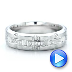 Custom Men's Diamond Brick Cut Wedding Band - Interactive Video - 101866 - Thumbnail