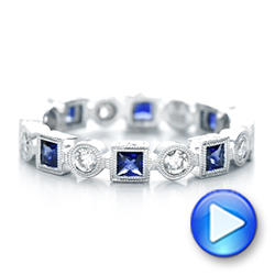 18k White Gold Stackable Diamond And Blue Sapphire Eternity Band - Video -  101874 - Thumbnail