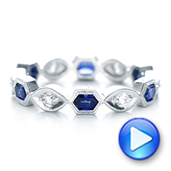 Stackable Diamond and Blue Sapphire Eternity Band - Interactive Video - 101876 - Thumbnail