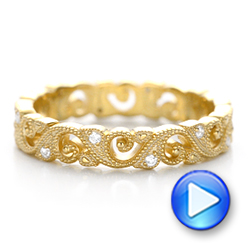 Yellow Gold Diamond Organic Stackable Eternity Band - Interactive Video - 101889 - Thumbnail