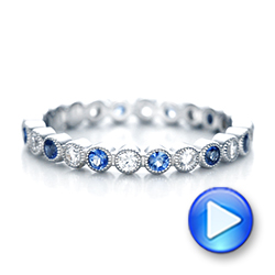 Diamond and Blue Sapphire Stackable Eternity Band - Interactive Video - 101894 - Thumbnail
